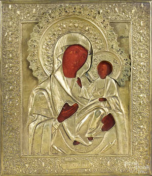 Russianstyle icon of the Mother of God Tichvinskaya