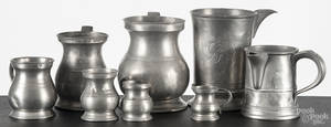 Eight English pewter measures