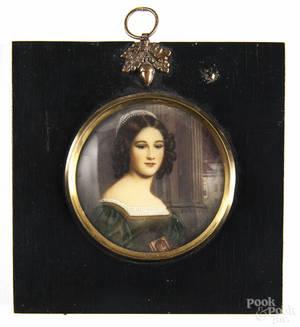 Continental miniature watercolor portrait of a woman