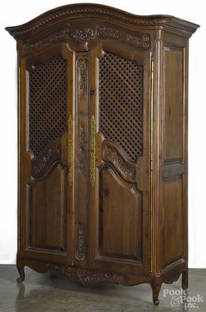 Reproduction French carved oak armoire