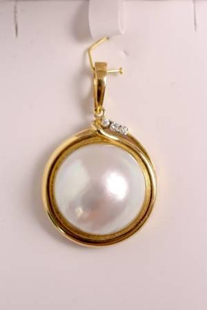 Mabe Pearl Diamond  14k Gold Necklace Pendant
