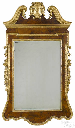 George III style mahogany and parcel gilt mirror late 19th c