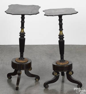 Pair of English painted candlestands mid 19th c