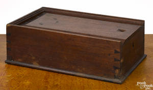 Pennsylvania walnut slide lid lock box early 19th c