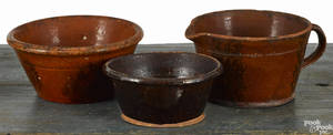 Two Pennsylvania redware bowls 19th c