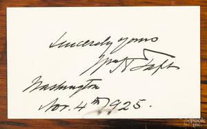 William Howard Taft signed card