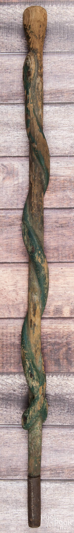 Carved and painted walking stick