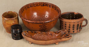 Six pieces of redware