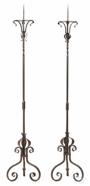 Pair of Continental wrought iron torchieres 19th c