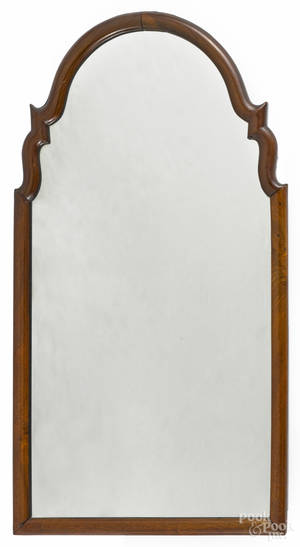 George II walnut veneer looking glass mid 18th c