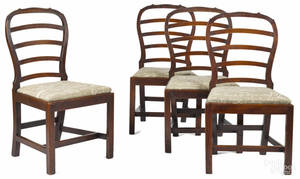 Set of four George III mahogany ribbonback dining chairs ca 1780