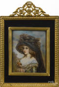 Two miniature French watercolor on ivory portraits late 19th c