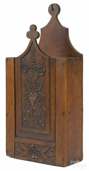 French walnut hanging candlebox early 19th c