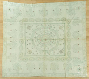 Rare New England block printed bedspread early 19th c