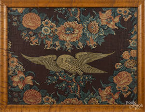 Framed chintz panel with a spread winged eagle early 19th c