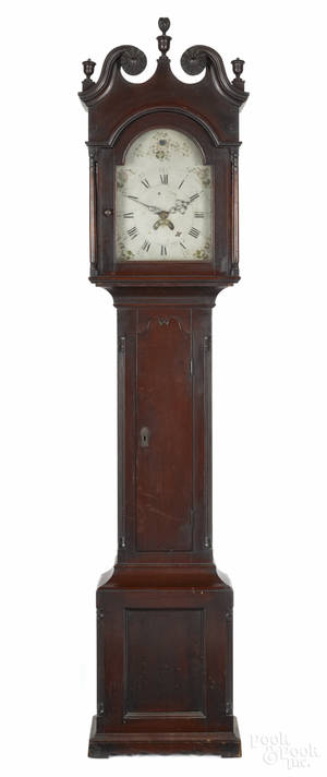 Pennsylvania stained poplar tall case clock ca 1800
