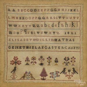 Lancaster County Pennsylvania silk on linen sampler dated