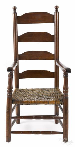 Pennsylvania William  Mary ladderback armchair mid 18th c
