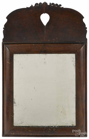 Queen Anne walnut veneer looking glass ca 1750