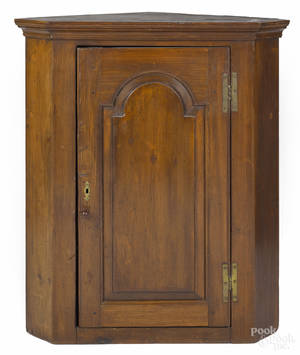 Pennsylvania poplar hanging corner cupboard late 18th c