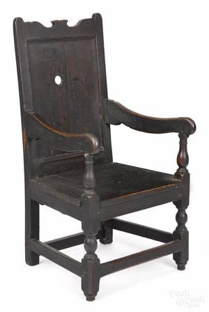 Southeastern Pennsylvania walnut and oak wainscot armchair ca 1720