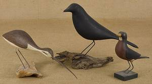 Three contemporary carved and painted birds
