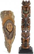 Ray Williams carved and painted totem pole figure
