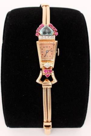 Ladies Rose Gold Diamond Ruby  Aquamarine Watch