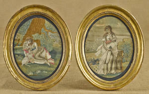 Pair of English silk embroideries early 19th c