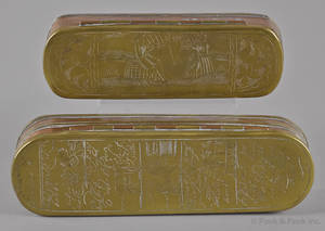 Two Dutch engraved brass and copper snuff boxes late 18th c
