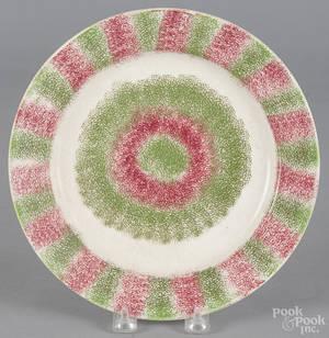 Red and green spatterware bullseye plate 19th c