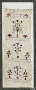 Vibrant Lancaster County Pennsylvania embroidered and crewelwork show towel