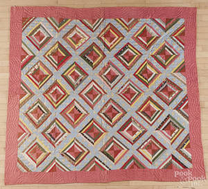 Pieced log cabin variant quilt late 19th c