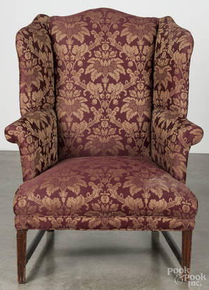 MidAtlantic Federal mahogany wing chair ca 1790
