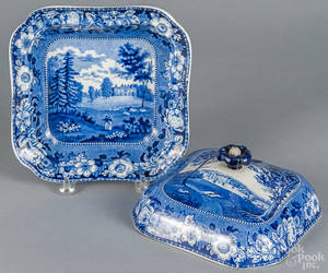 Blue Staffordshire covered entre dish