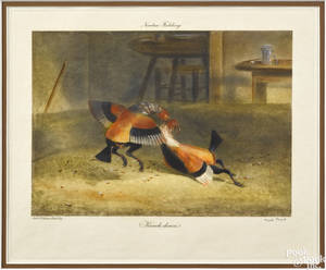 Set of six Newton Fielding trial proof cock fighting prints