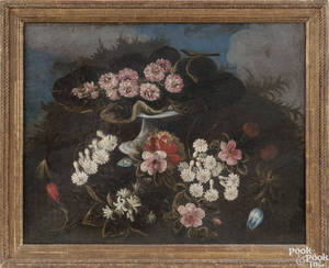Pair of Continental oil on canvas floral still life paintings 18th c