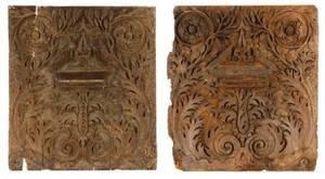 Pair of Italian Carved Walnut Panels 17th Century
