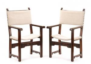Pair of Renaissance Style Walnut Armchairs 19th