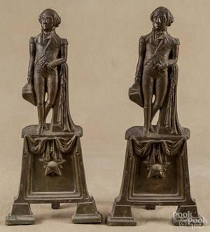 Pair of brass George Washington andirons