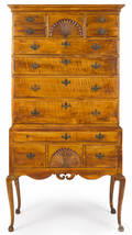 New England Queen Anne figured maple high chest