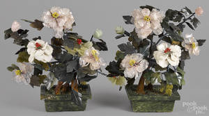 Pair of Chinese carved jade and hardstone potted flowers