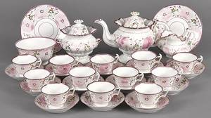 Thirtypiece pink lustre tea and luncheon service