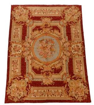 Aubusson Style Wool Needlepoint Rug 20th C
