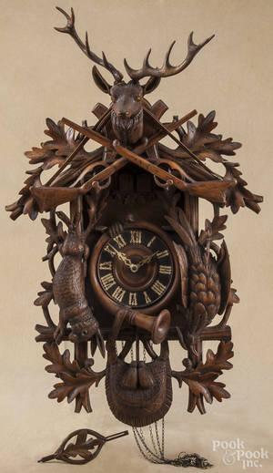 German Black Forest carved cuckoo clock