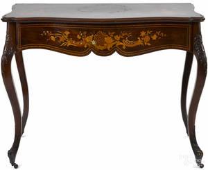 French marquetry inlaid mahogany game table early 20th c