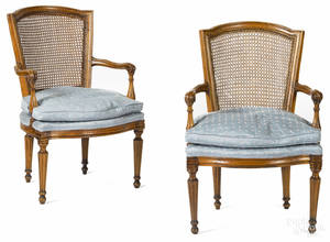 Pair of French Louis XV fruitwood fauteuils 19th c