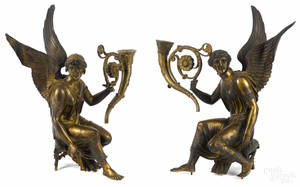 Pair of French bronze allegorical candleholders late 19th c