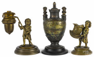 French bronze figural fluid lamp late 19th c