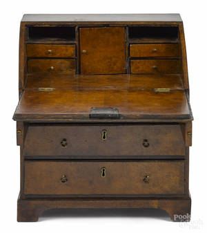 George III burled walnut childs slant front desk late 18th c